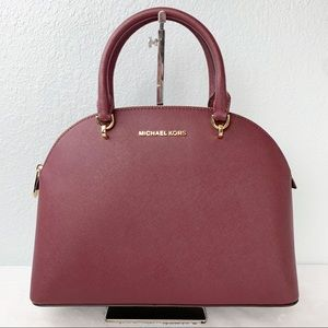 NWT, Michael Kors Emmy Large Saffiano Leather Dome